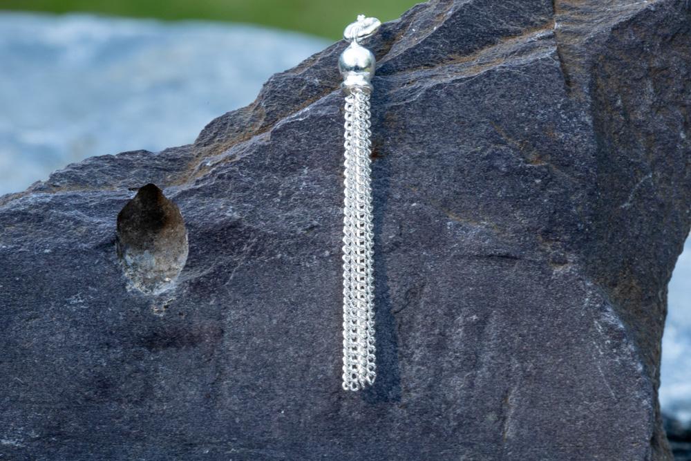 "Sterling silver tassel on 18"" sterling silver chain - £38"