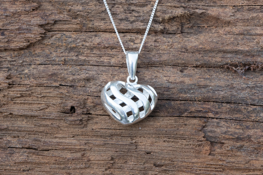 "Sterling silver open heart on 18"" sterling silver chain - £35"