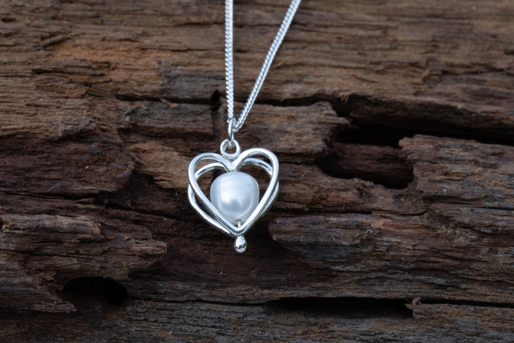 """Sterling silver heart cage with freshwater pearl on 18"""" sterling silver chain - £40"""