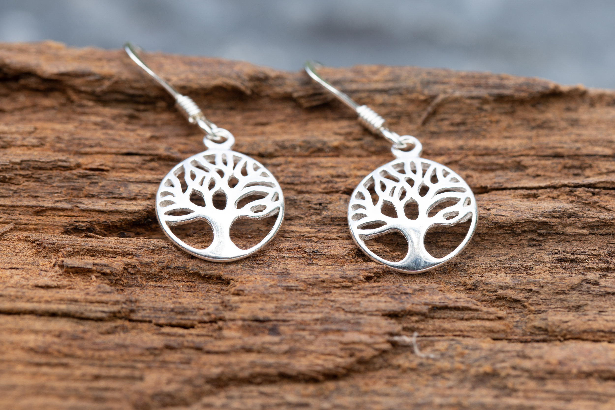Sterling silver tree of life earrings with sterling silver hooks - £28