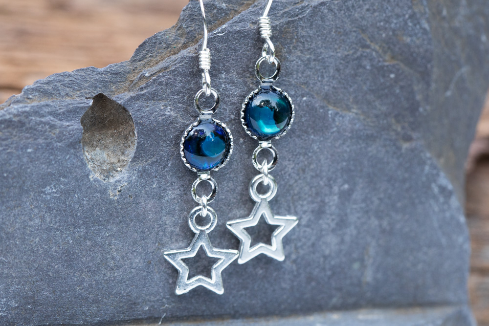 Star abalone drops with sterling silver hooks - £18