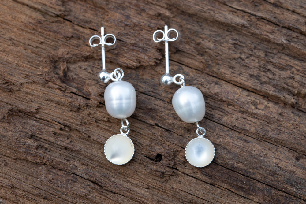 Freshwater pearls and mother of pearl-cabochon earrings on sterling silver hooks - £20