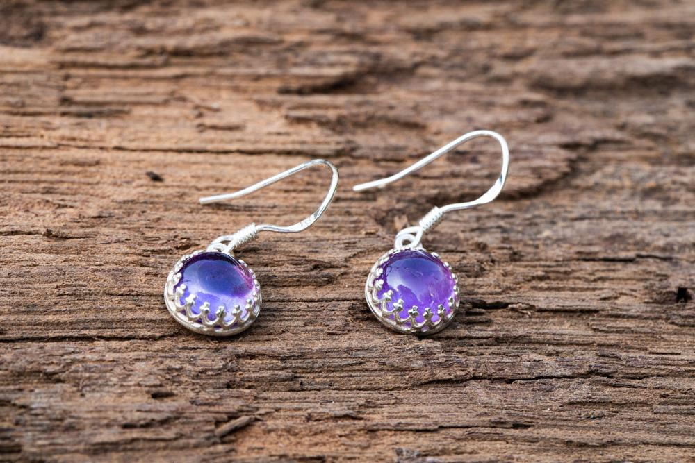 Amethyst set into sterling silver crown earrings on sterling silver hooks - £38