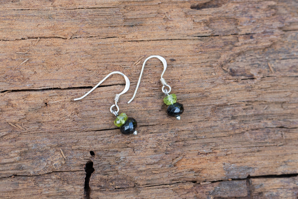 Peridot and faceted black spinel earrings on sterling silver hooks - £35