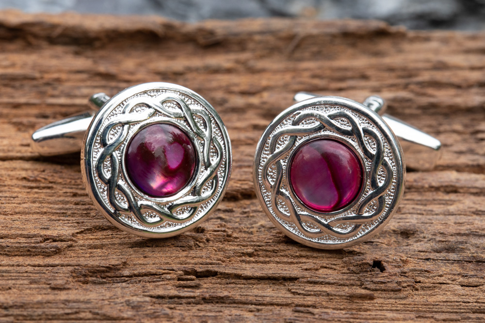 Celtic design silver plate cufflinks incorporating pink abalone shell - £24