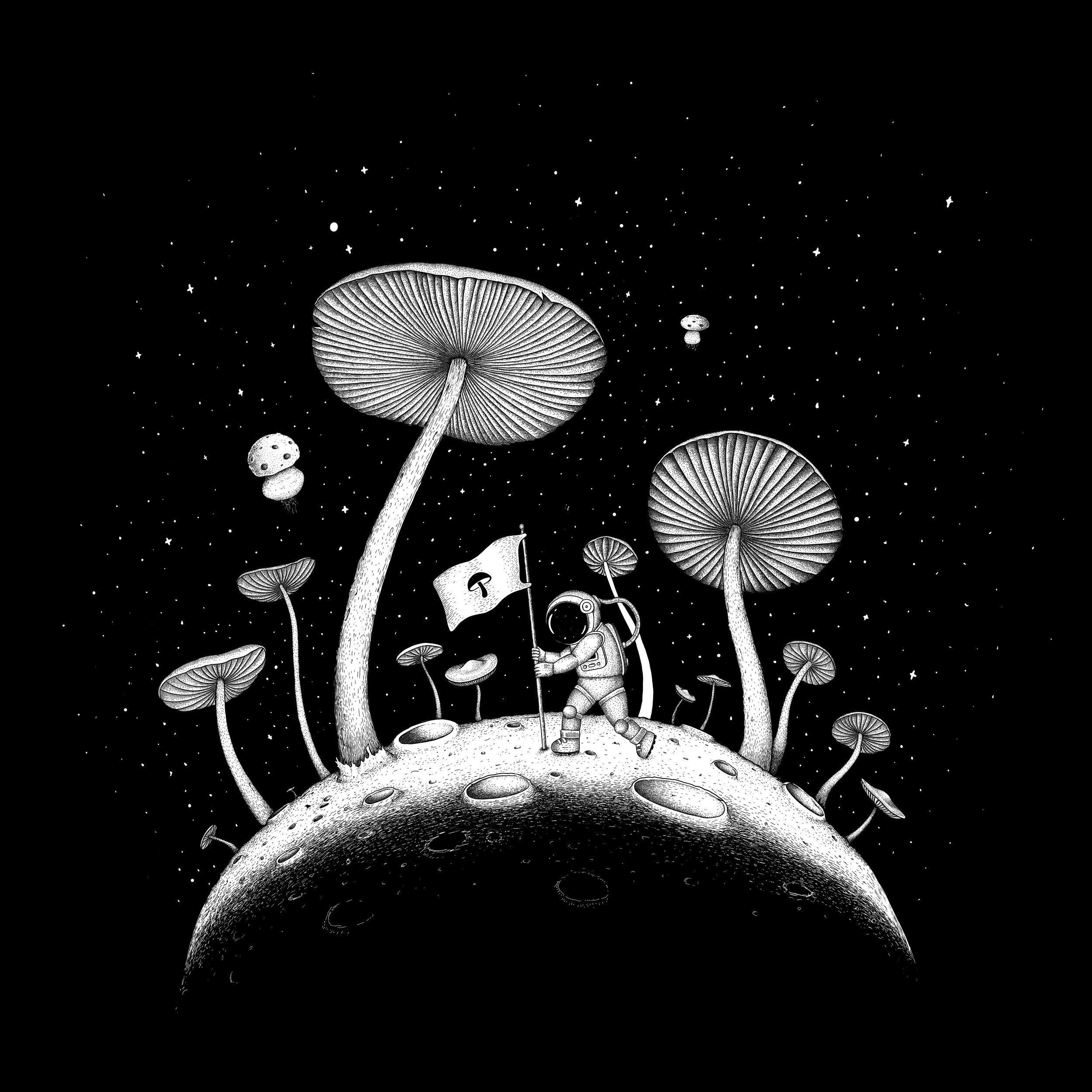 Moon Mushroom T-Shirt Illustration
