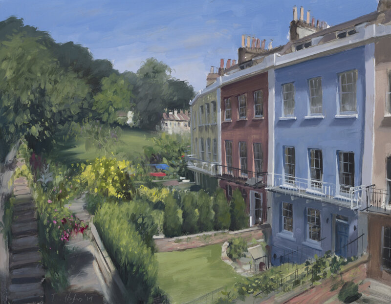 This painting of a house and garden in Clifton, Bristol was commissioned as a birthday present for the owners wife. We discussed the time of day that would work best and went through a multitude of different options regarding the angle from which to approach the piece to show the house and garden in it's full glory.