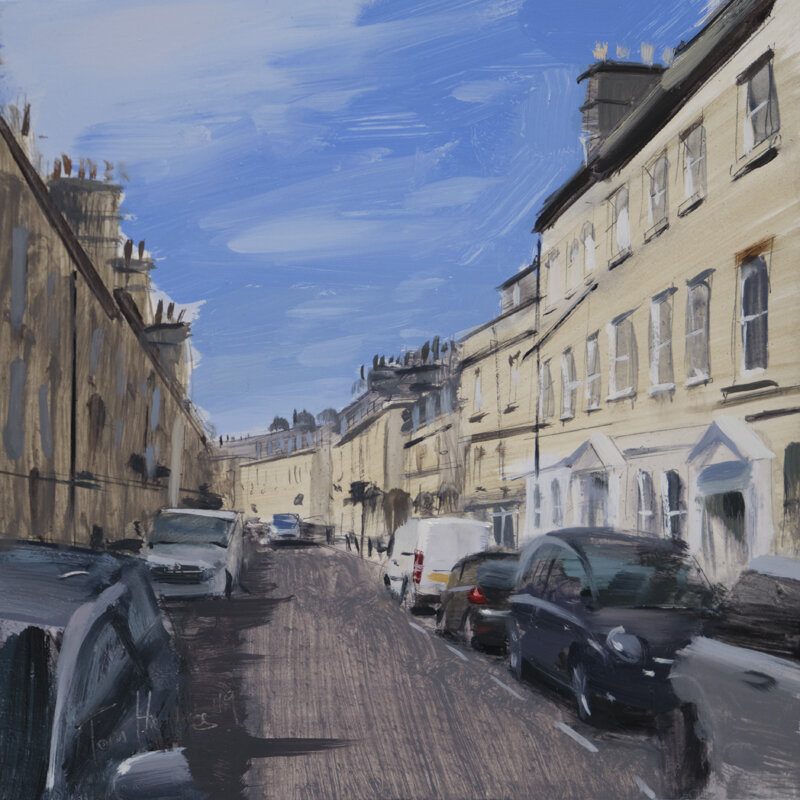 This piece was commissioned as a wedding present for the buyers friends who used to live on this street in Bath. I choose a sunny day and walked the street a few times to find the best viewpoint and settled on one that showed both sides of the road. The contrast of the shadow side opposite the sunny side added some nice dynamics.