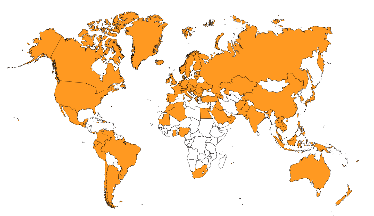 uBiome has received samples from the above orange countries as of 2018.