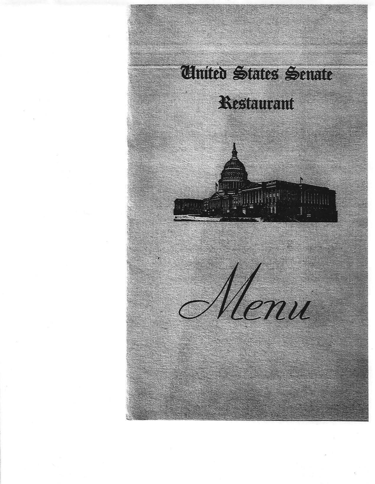 US Senate Menu 1940