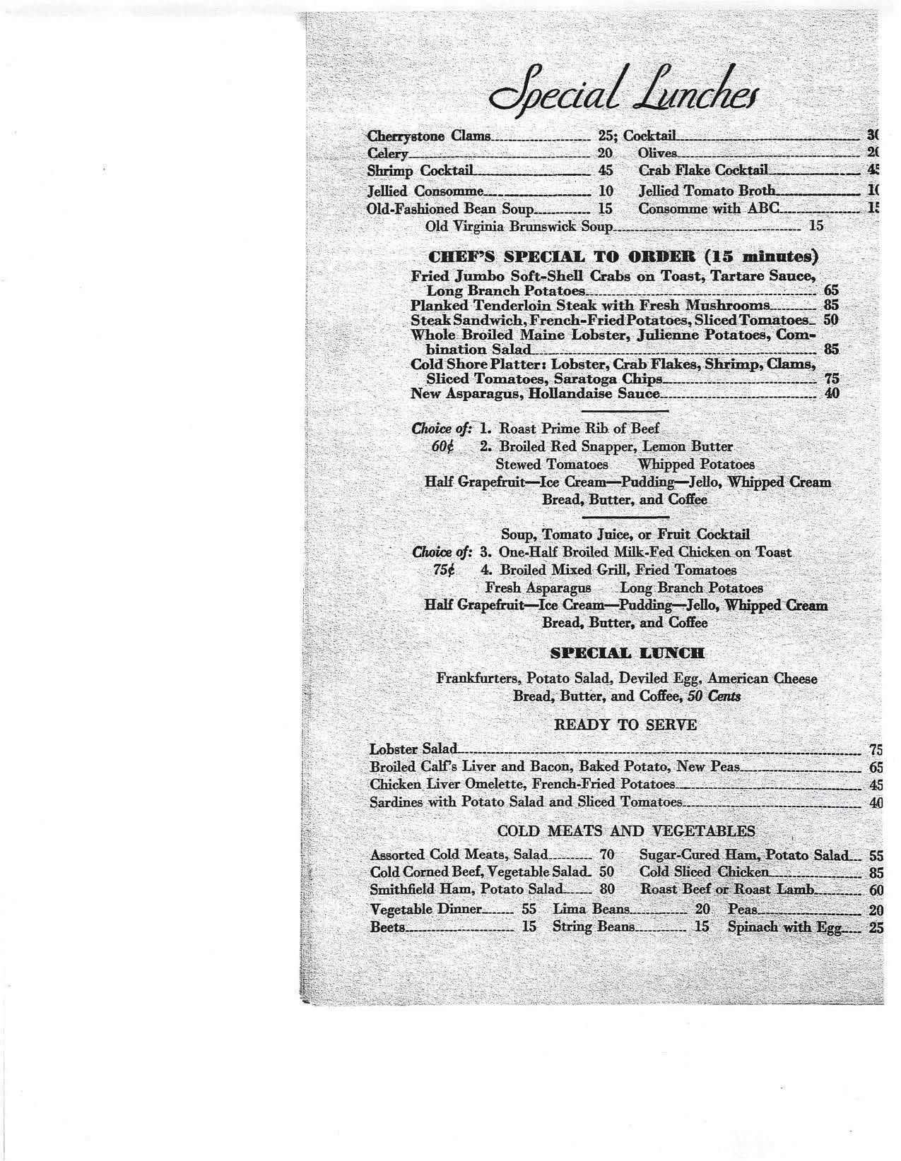 US Senate Menu 1940, p2