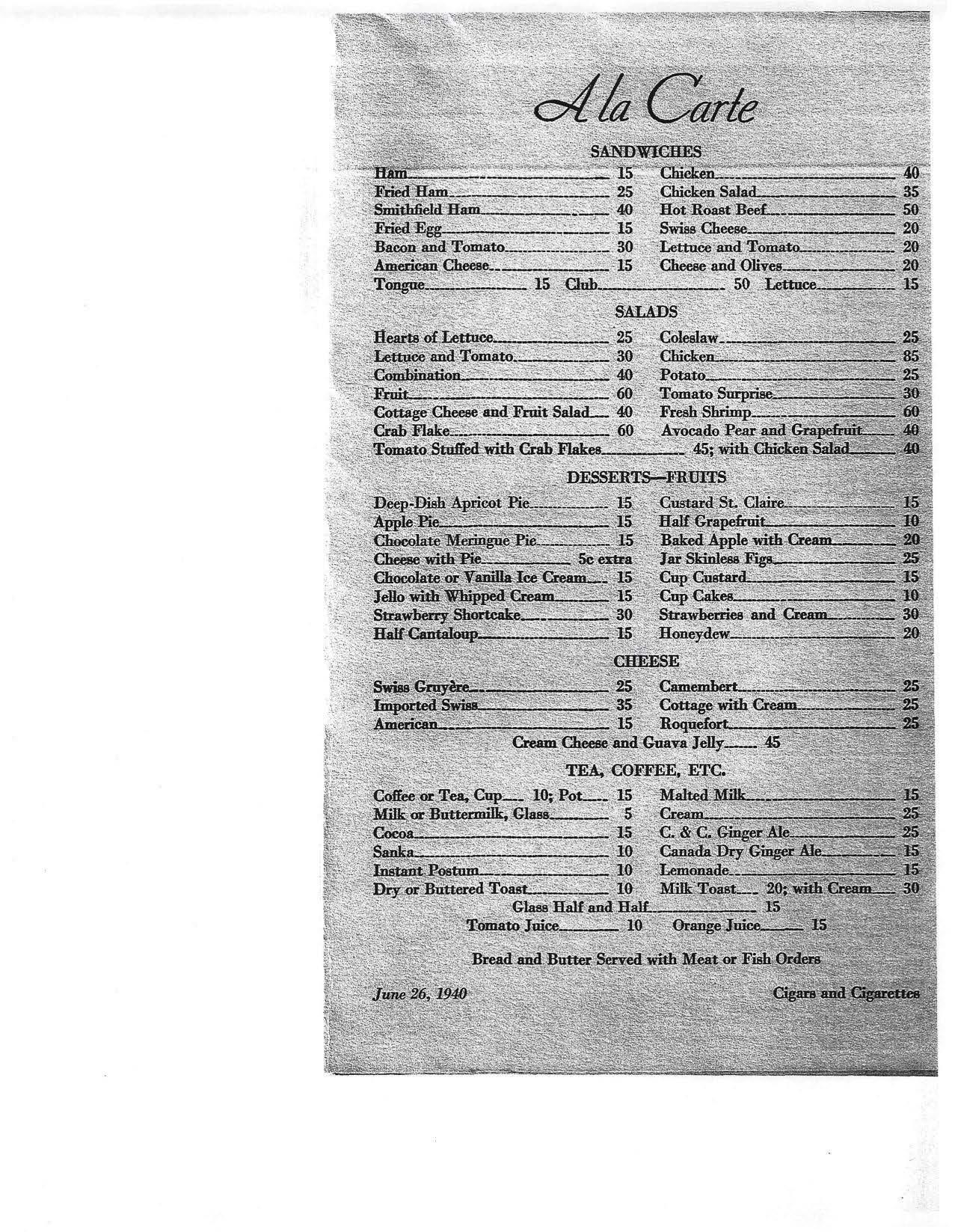 US Senate Menu 1940, P3