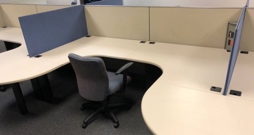 8' x 7' Modular Work Desk offers semi privacy and shared usage