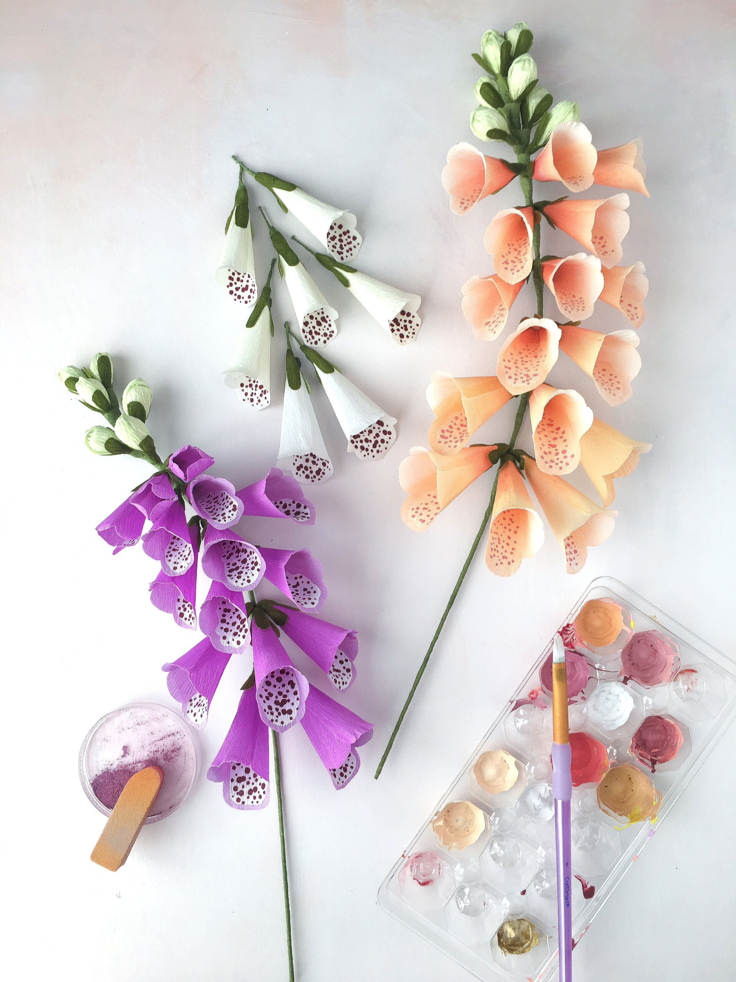1532630169-Purple, white, apricot foxgloves with tools by Crafted to Bloom.jpg