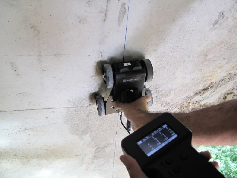 Corrosion detection of rebars using iCAMM technology. Developed and implemented by InspecTerra Inc.