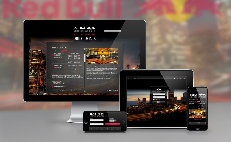 Red Bull Nighttime Navigator - A global database of restaurants, bars, clubs and more, providing account managers with a tool to provide perks and hookups to Red Bull VIPs, this custom software provides a robust feature set allowing users to perform a wide variety of functions, communications, and connects to corporate authentication systems to support multiple layers of user permissions.