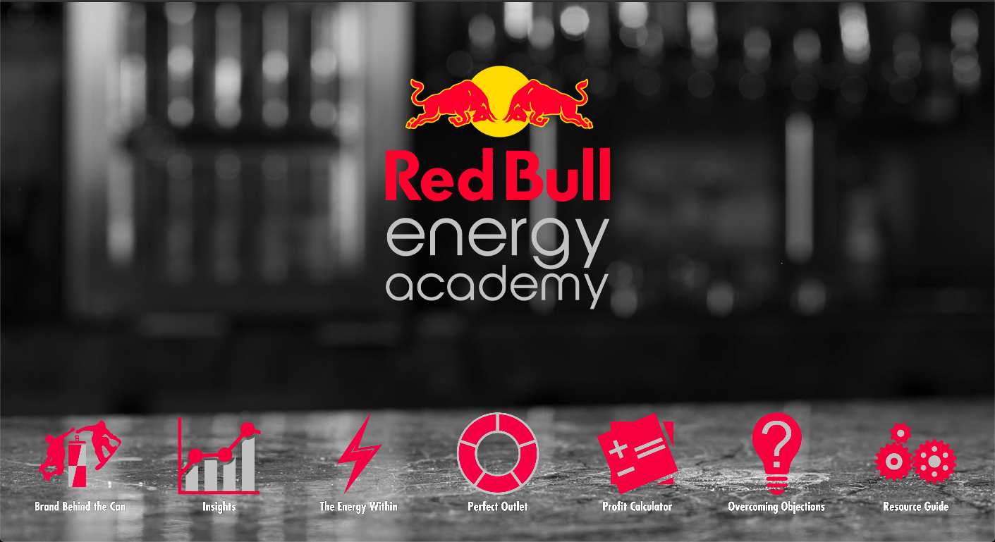 Red BullEnergy Academy - An immersive interactive educational tool covering all aspects of the Red Bull brand, product, sales strategies, point of sale tactics, and more. Deployed nationally to boost impact of on premise sales teams.