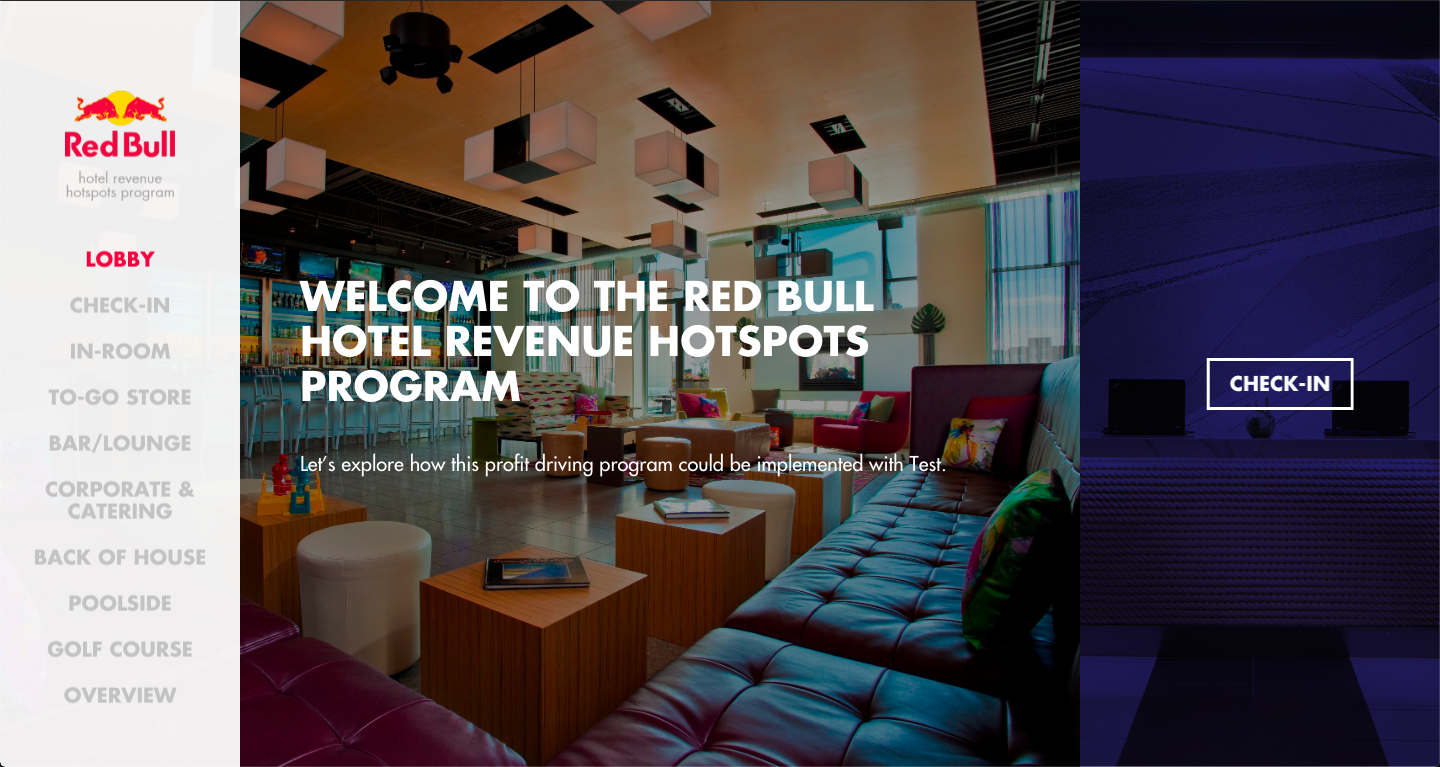 Red Bull Hotel Program - An immersive interactive tool showcasing the Red Bull strategy for increasing sales and profits at national hotel chains and boutiques.