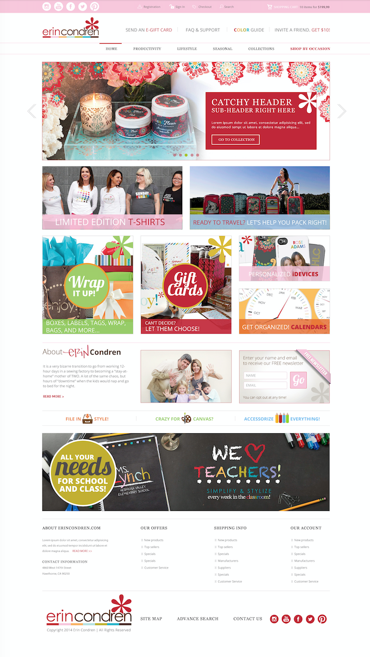 eCommerce Redesign & Customer Acquisition - We helped Erin Condren reimagine their ecommerce store with a fresh taxonomy, refined design direction, and improved customer experience that showcased their best selling products and enhanced the upsell experience. The result was a brand-building customer experience that lifted sales.We optimized the conversion funnel and drove traffic to the eCommerce destination with a complete suite of tactics that includedPay Per ClickSearch Engine OptimizationSearch Engine MarketingEmail AutomationRetargetingSocial Media Strategy