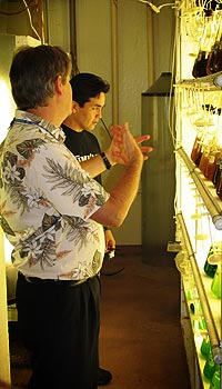Gary explaining to Mike the process of creating fish food in Oceanic Institute's Finfish Department.