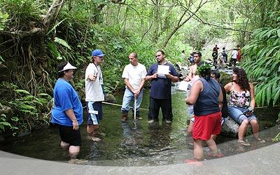 At Waihe'e Stream in Kahalu'u Valley.