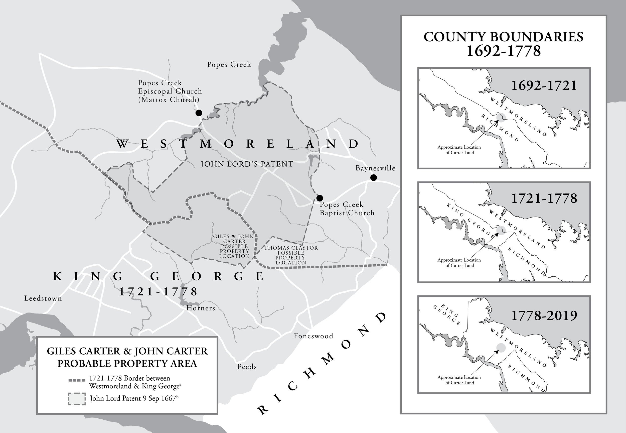 Historical Maps - This map shows the historical boundaries of Westmoreland County, Virginia. Used in a Proof Argument, the map helped the reader understand the boundaries of the county in relationship to the property of the subject. View Map