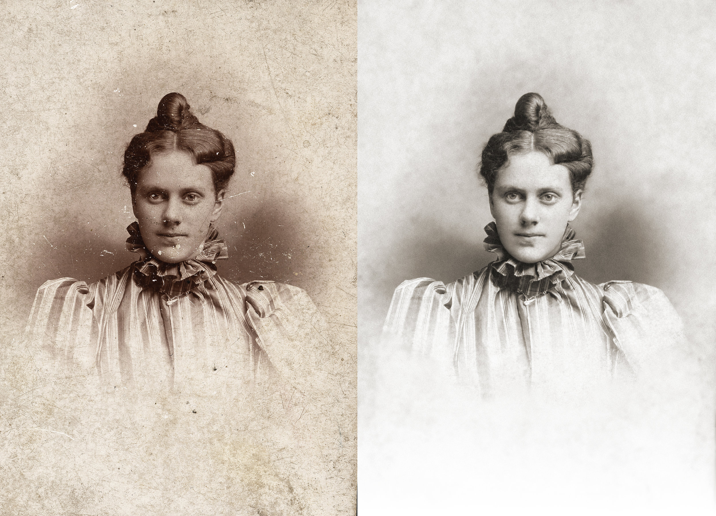 Photo Restoration - This photo had a great deal of cracking. It was a major restoration project. View Images