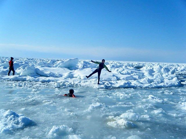 Planning a winter trip to Hokkaido? Don't miss this epic experience of swimming in the frozen sea in Shiretoko! ❄️ Detail in my latest blog post from bio⛄️ . #winter #wintersports #snow #swimming #sea #outdoors #travel #traveling #hokkaido #japan #流氷 #北海道 #shiretoko