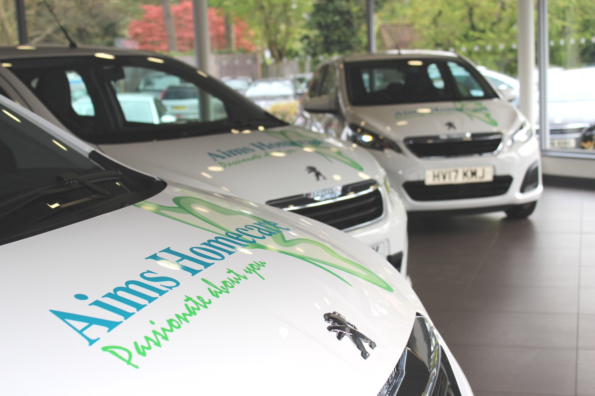 Our Fleet - Aims Homecare has it's a very large fleet of new vehicles which allows us to cover most of Surrey. All our cars are tracked remotely and fitted with video cameras, so we can see where our staff are at all times, and let you know if they are running late.