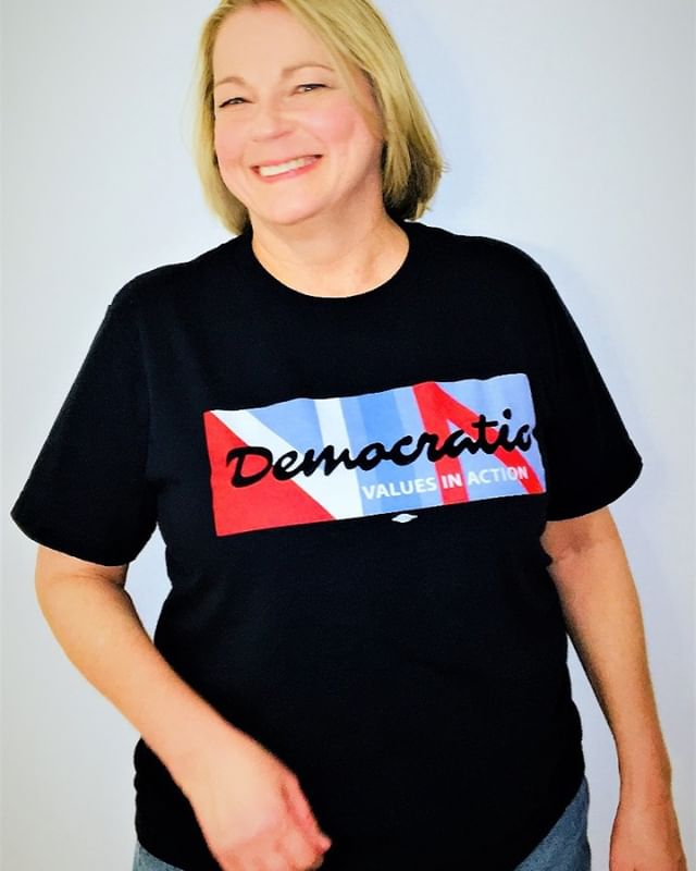 No Sweat Democratic Values in Action. Union made & printed T-shirts for Democratic Party of Daytona Beach. Special thanks to Susanne Raines!