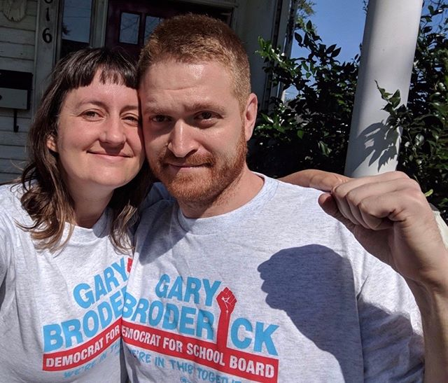 """No Sweat Union made & printed T-shirts supporting Democratic School Board candidate Gary Broddrick. """"No Sweat was great to work with. Adam was incredibly helpful, our shirts arrived within a week, and they looked beautiful. Thank you so much!"""" - Kristin Reed, Campaign Manager   Committee to Elect Gary Broderick  Thank you, Kristin Reed!"""