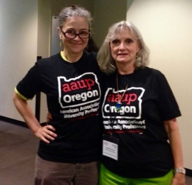 No Sweat Union made & printed T-shirts showing solidarity with American association of Professors in Oregon. Special shout out to Margaret Butler!