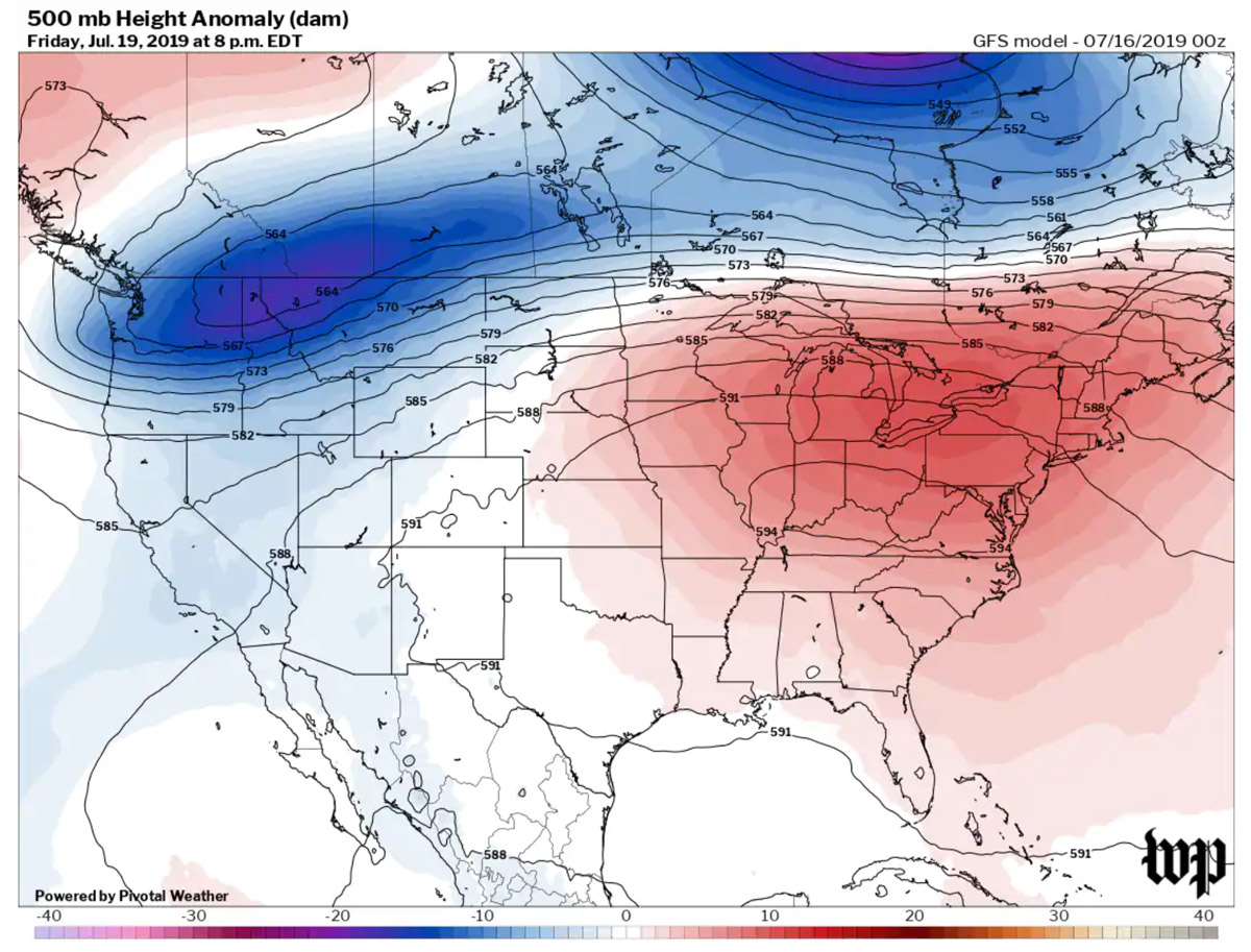 Heat dome (high pressure system) that resulted in the severe summer 2019 heat wave experienced in central and eastern US. Source