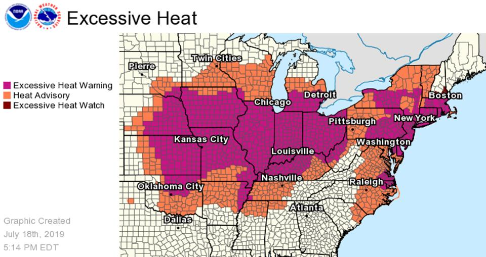 The areas in purple will be under an Excessive Heat Warning. NWS