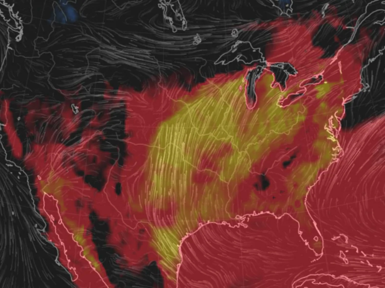 Visualization of heat and humidity Friday. (Earth.nullschool.net)