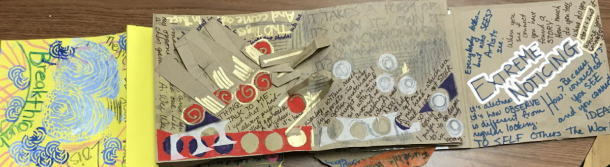 An example of an accordion book-style process-folio created  by Lois Hetland .