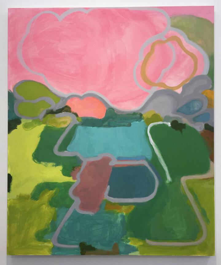"""Elizabeth Hazan, """"July"""" (2019), oil on linen, 60 x 50 inches"""