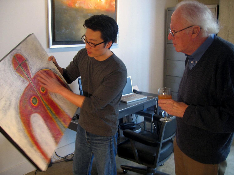Artist Ralph McQuarrie in Pak Han's studio, 2004   Photo: Caroline Kieu Linh Valverde