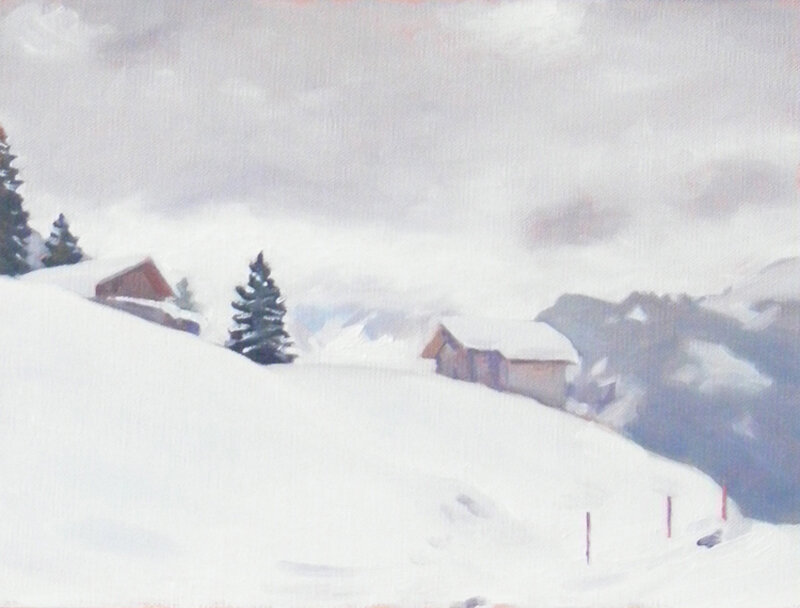 Cow Sheds in the Snow, oil on board, 22.5 x 30 cm.   £450
