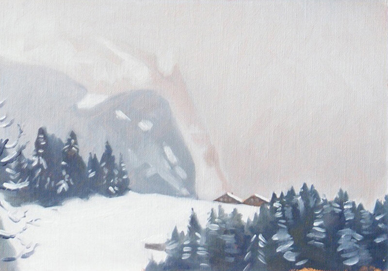 Early Morning Snow, oil on board, 17.5 x 25 cm.   SOLD