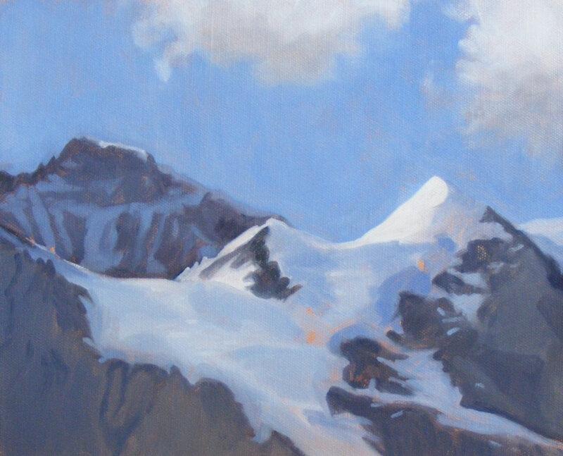 Jungfrau and Silberhorn, oil on board, 22.5 x 30 cm.   SOLD