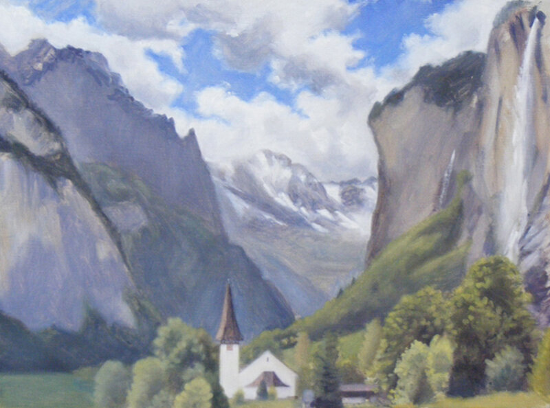 The Lauterbrunnen Valley, oil on canvas, 30 x 40 cm.   SOLD