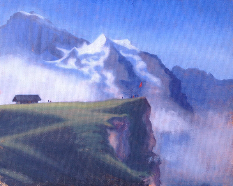 Mannlichen and the Jungfrau, oil on board, 20 x 25 cm.   SOLD