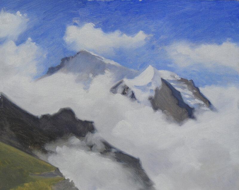 The Jungfrau, oil on board, 24 x 30 cm.   SOLD