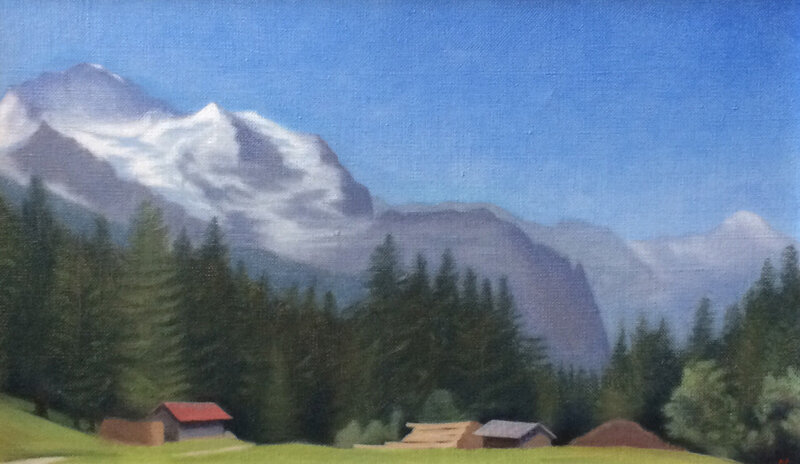 Woods in front of the Jungfrau, oil on canvas, 35 x 60 cm.   £1500