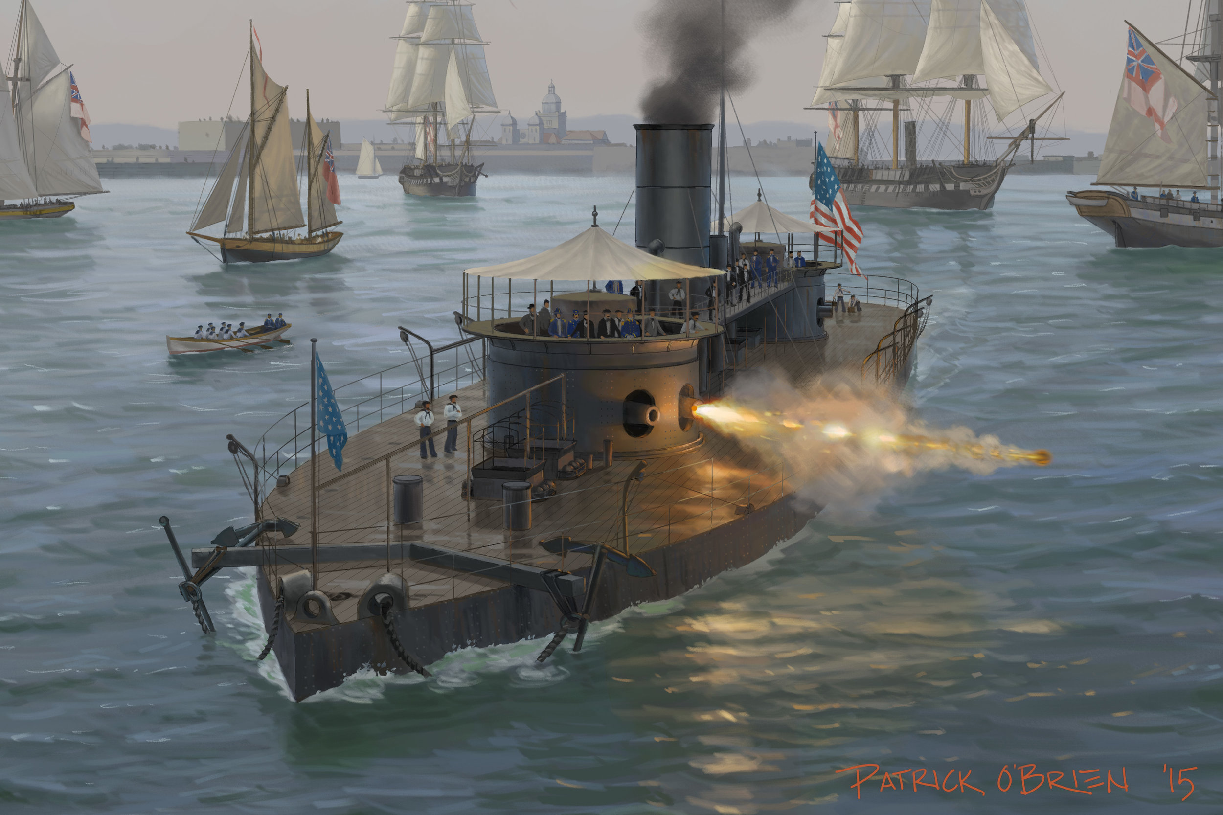 illustration of the ironclad USS  Miantonomoh
