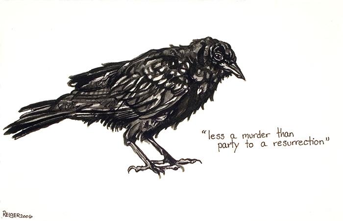 Corvus ossifragus  (raven bone breaker)  Sumi ink on paper 6 1/2 x 9 inches 2006
