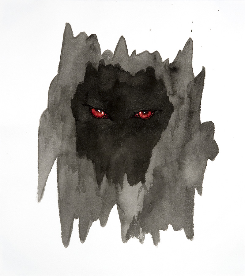 totem : wolf  Pen and ink, sumi ink and watercolor on paper 16 1/2 x 14 3/4 inches 2007