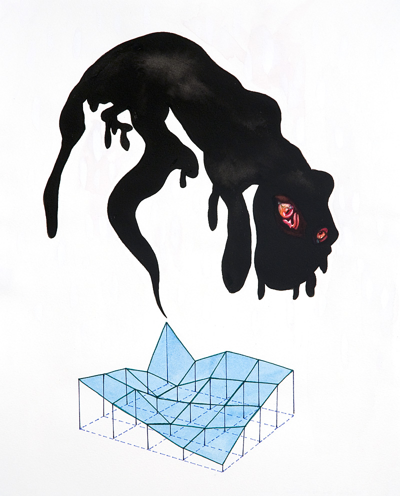 this nether beast, feline and fed on silence  Pen and sumi ink, gouache, watercolor, and marker on paper Approx. 16 x 12 inches 2009 (AVAILABLE FOR PURCHASE - CONTACT ARTIST IF INTERESTED)