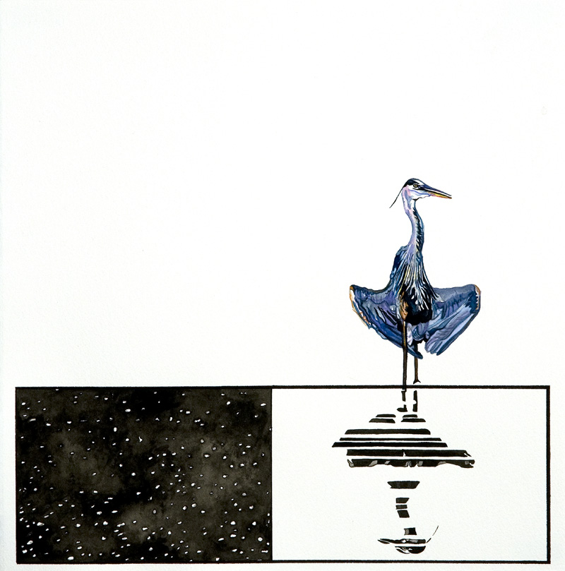 arrival at the shore  Pen, sumi ink, gouache, and watercolor on paper 12 x 12 inches 2010
